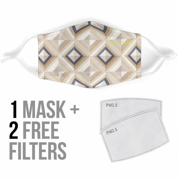 Geometric Design Retro Style Beige Protection Face Mask
