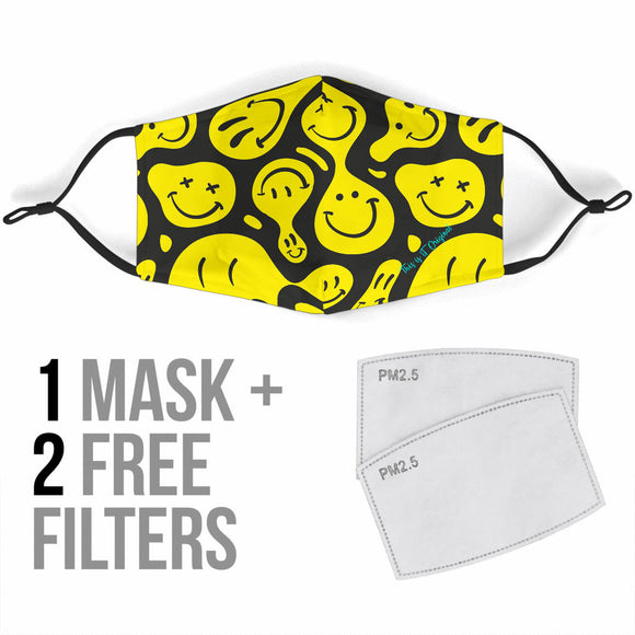 Funny Smile Emoticon Yellow And Black Design Protection Face Mask