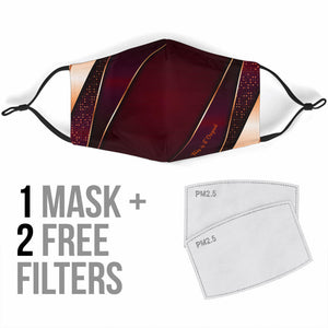 Luxury Dark Red Geometric Design One Protection face Mask