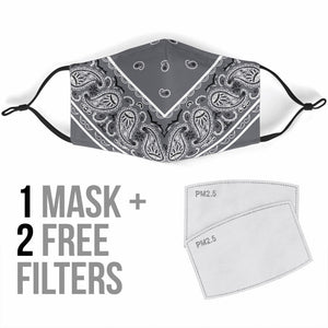 Luxury Perfect Gray and White Bandana Style Protection Face Mask