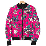 Tattoo Studio Design in Pink With Roses Women's Bomber Jacket