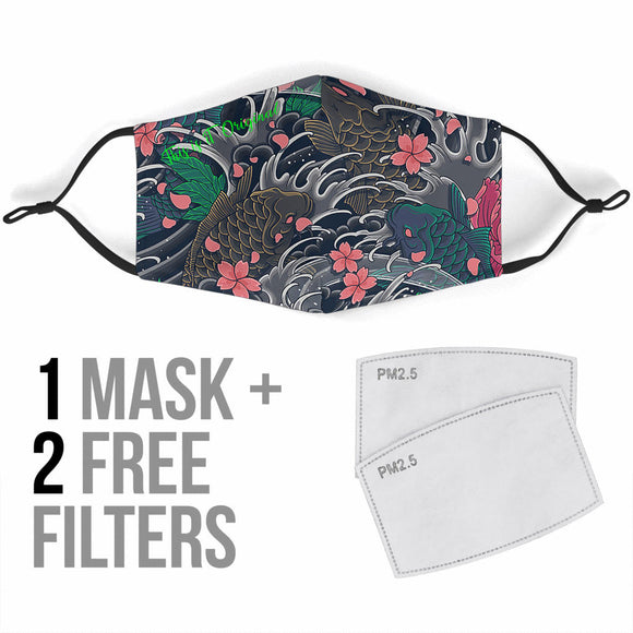 Japanese Grey Wave & Pink Flowers With Koi Fish Two Protection Face Mask