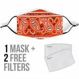 Royal Wild Orange Bandana Design With Paisley Style Protection Face Mask