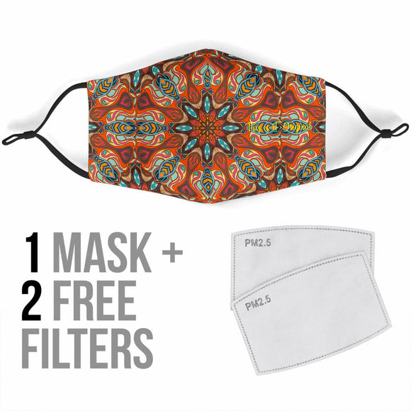Mandala Design In Special Orange Color Protection Face Mask