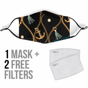 Black Sailor Chains Design Protection Face Mask
