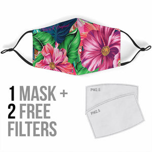 Tropical Flowers Vibes 3 Protection Face Mask
