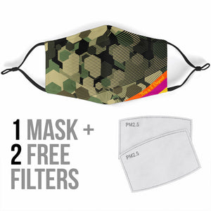 Special Camouflage Army Hexagon Design Protection Face Mask
