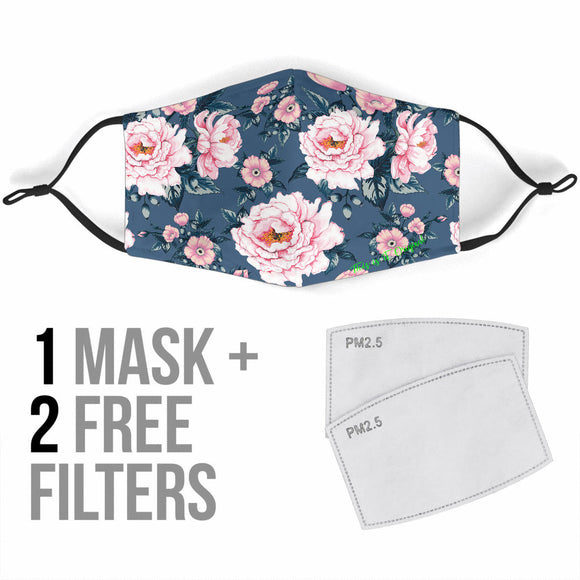 Grey Design With Pink Flowers Protection Face Mask