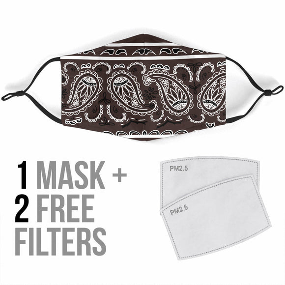 Royal Coffee Brown Bandana Design With Paisley Style Protection Face Mask