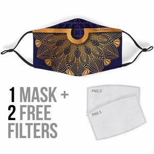 Golden Luxury Mandala Design Three Protection Face Mask