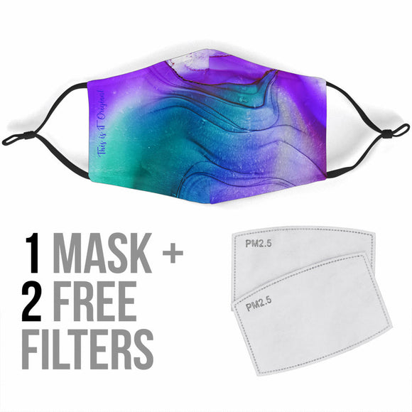 Abstract Fluid Colorful Art Three Protection Face Mask