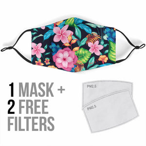 Pink Fashion Tropical Flowers Protection Face Mask