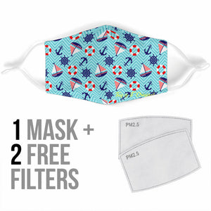 Sailor Funny Style With Stripes Protection Face Mask