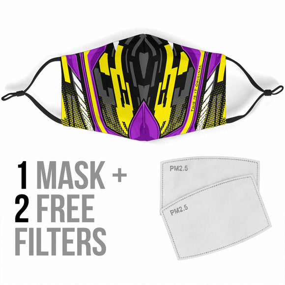 Racing Style Violet & Yellow Special Design Protection Face Mask