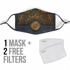 Golden Luxury Design Mandala Style One Protection Face Mask
