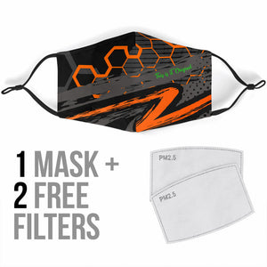 Special Racing Orange Hexagon Design Protection Face Mask