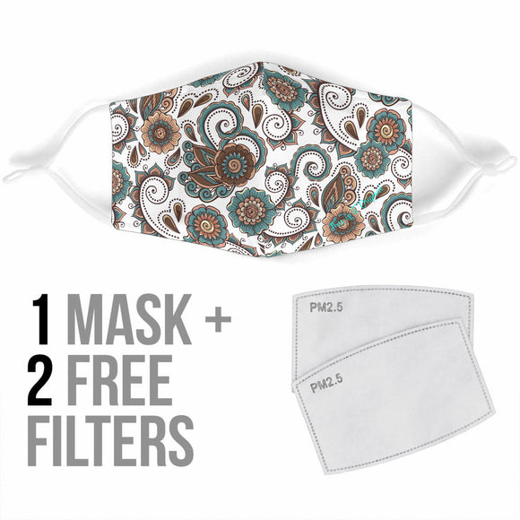 Luxury Brown And White Paisley Style Bandana Design Protection Face Mask