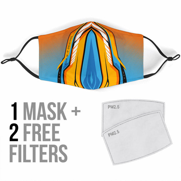 Racing Ocean Blue & Orange Special Design Protection Face Mask