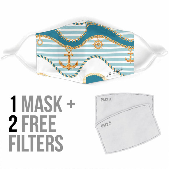 Luxury Sailor Style With Stripes Protection Face Mask