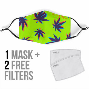 Psychedelic Weed Green Design Protection Face Mask