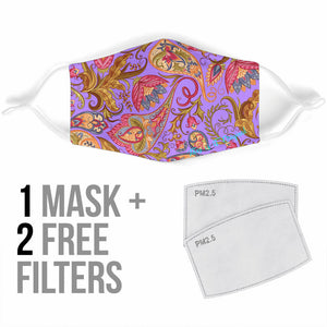 Violet & Pink Paisley Pattern Protection Face Mask