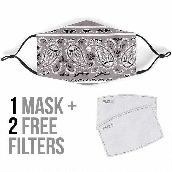 Grey Bandana Design With Paisley Style Protection Face Mask