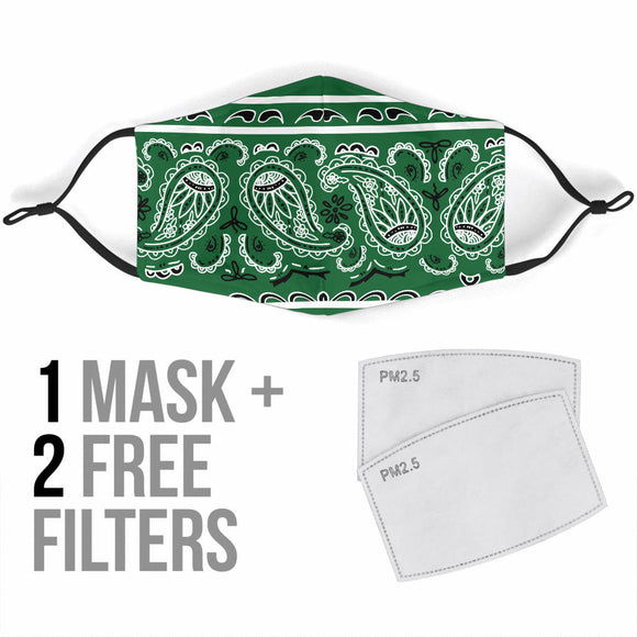 Green Bandana Design With Paisley Style Protection Face Mask