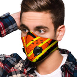 Racing Style Orange & Yellow Stripes One Premium Protection Face Mask