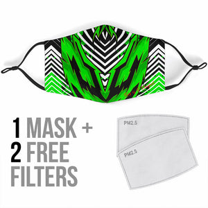 Bestseller Racing Stripes Style Black & Neon Green Vibes Protection Face Mask