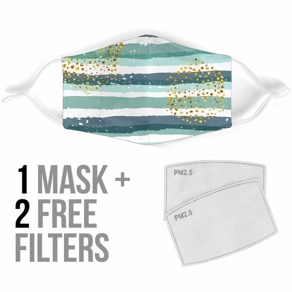 Golden Dots With Blue Art Stripes Protection Face Mask