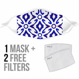 Traditional Blue & White Ornamental Vibes Design Four Protection Face Mask