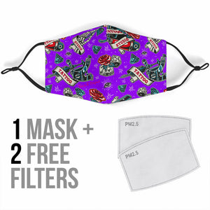 Tattoo Studio Design in Violet Protection Face Mask