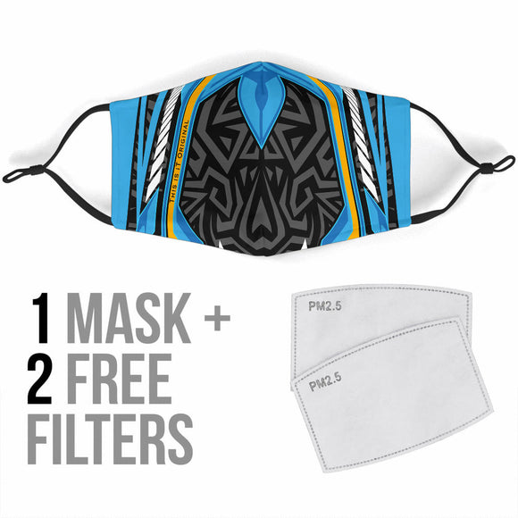 Racing Style Light Blue & Black Ornamental Design Protection Face Mask