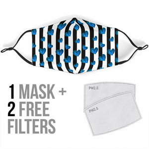 Bestseller Black Stripes With Lovely Blue Hearts Protection Face Mask