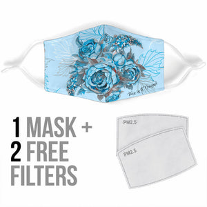 Lovely Light Blue Peony Flowers Art Design Protection Face Mask