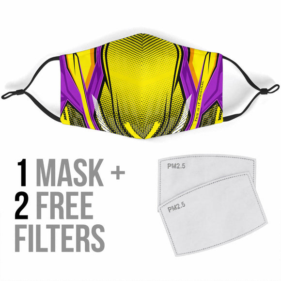 Racing Yellow & Violet Special Design Protection Face Mask