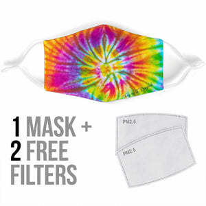 Futuristic Tie Dye Spiral Design in Rainbow Super Colors Protection Face Mask