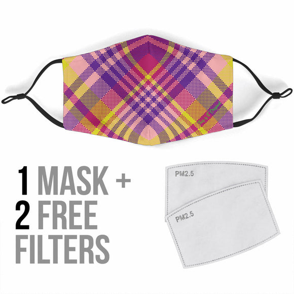 Perfect Violet & Yellow Tartan Design Protection Face Mask