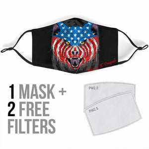 USA Patriot Angry Cat Protection Face Mask