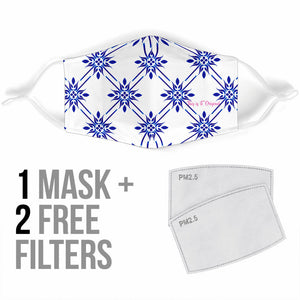 Traditional Blue & White Mandala Design Three Protection Face Mask