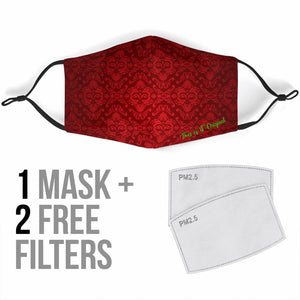 Luxury Damask Design Bloody Red Protection Face Mask
