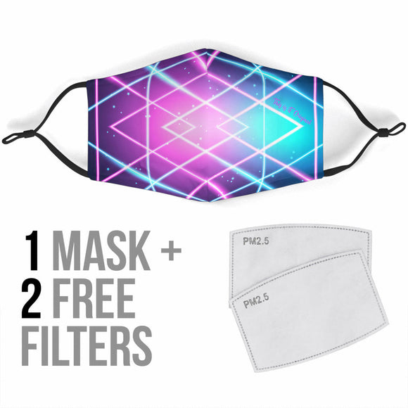 Future Neon Style Pink & Blue Lights One Protection Face Mask