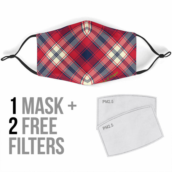 Perfect Red & Dark Blue Tartan Design Protection Face Mask
