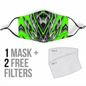 Racing Style Neon Green & Grey Protection Face Mask