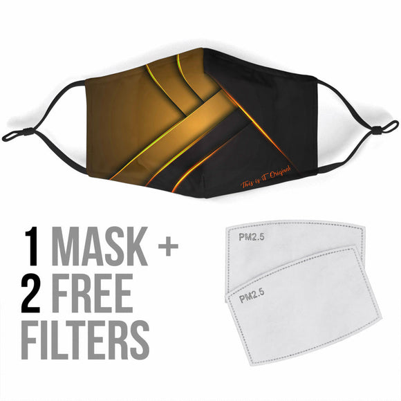 Luxury Black & Gold Style With Stripes Design Special Protection Face Mask