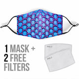 Violet & Light Blue Snake Skin Design Protection Face Mask