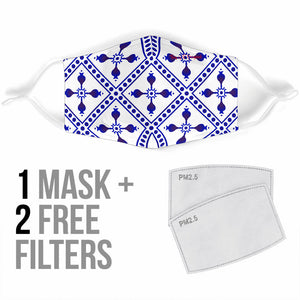 White & Blue Ornamental Design Two Protection Face Mask