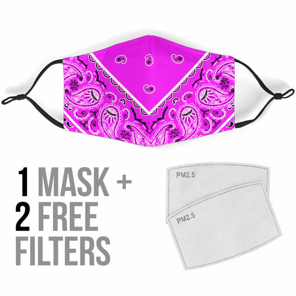 Luxury Perfect Extraordinary Pink and White Bandana Style Protection Face Mask