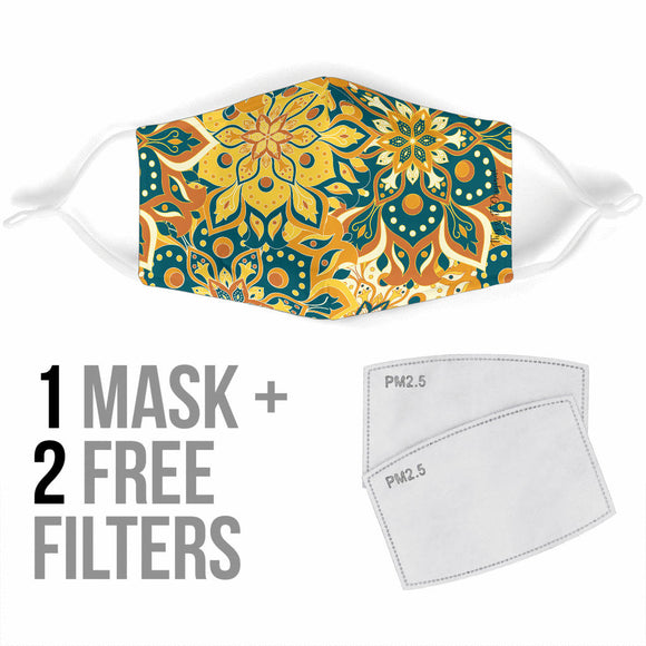 Luxury Mandala Yellow & Blue Design Protection Face Mask