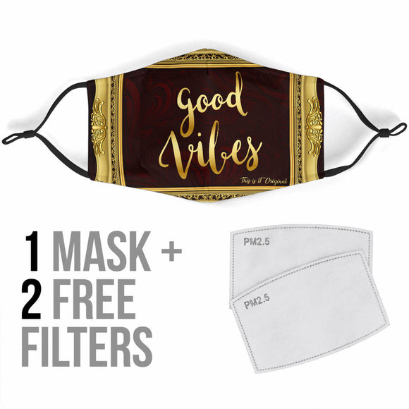 Magical Good Vibes In Luxury Gold Frame Protection Face Mask
